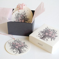 French Floral Tags and Gift Box Set - Wedding - Bridal Shower - Birthday