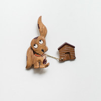 vintage 1940s dog house novelty pin [Perky Pooch Brooch] - $78.00 : ADORED | VINTAGE, Vintage Clothing Online Store