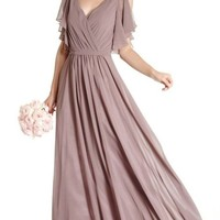 """Serendipity"" Dusty Mauve Flutter Sleeve Dress"