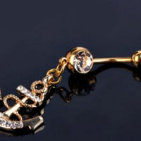 Attractive Anchor Dangle Belly Button Rings Body Piercing