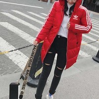 """Adidas"" Women Casual Fashion Multicolor Stripe Long Sleeve Hoodie Cotton-padded Clothes Coat"