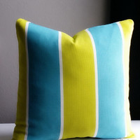 Wide striped Indoor/Outdoor pillow cover all sizes avalable