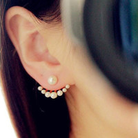 2 Pair Korean Style Girls Exquisite Simulated Pearl Stud Earrings For Women Earing Fashion Jewelry-0330