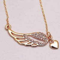 Heart and Angel Wings Necklace- Closeout!