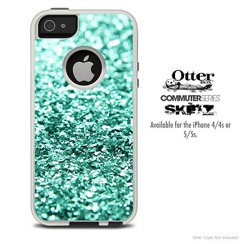 The Aqua Green Glimmer Skin For The iPhone 4-4s or 5-5s Otterbox Commuter Case