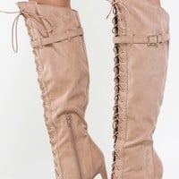 Qupid Interest-120 Lace Up Thigh High Boots