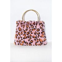Anja Furry Leopard Mini Purse