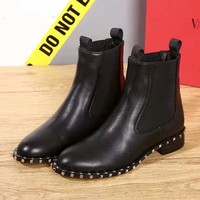 Valentino Women Fashion Leather Short Boots Shoes