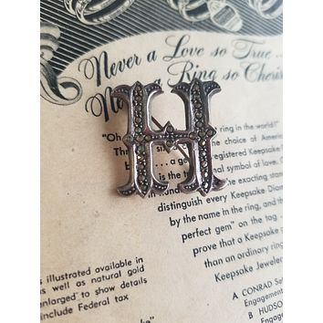 Letter H marcasite and sterling silver vintage brooch pin 925 stamped CI Initial Monogram