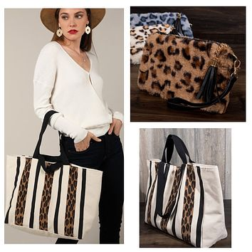 Adorable Leopard Canvas Tote with Faux Fur Pouch Set