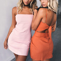 Spaghetti Strap Backless beach summer dress women sundress Bow casual sexy dresses Slim fit bodycon Femme short dress vestidos