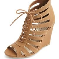 Caged Cut-Out Lace-Up Wedges by Charlotte Russe - Cognac