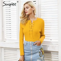Simplee O neck tie up knitted sweater women Autumn pull knit jumper winter sweater female Casual streetwear pullover pull femme
