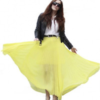 Light Yellow Chiffon Pleated Maxi Skirt