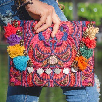 Handmade Ipad Cover Bag with Hmong Embroidered in Red