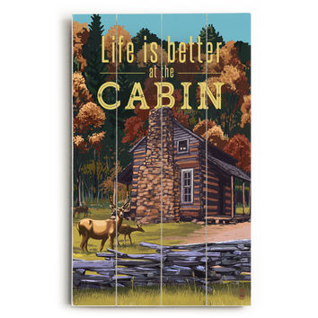 Life At The Cabin Wood Sign