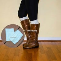 Ivory Knitted Boot Cuffs, Holiday Boot Topper Stocking Stuffer