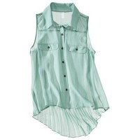 Xhilaration® Juniors Sleeveless High Low Pleated Back Shirt - Assorted Colors