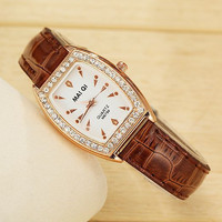 2015 Women's Quartz Casual Crystal Leather Band Watches