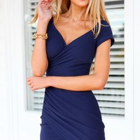 ACACIA DRESS (NVY) - off the shoulder navy dress with capped sleeves