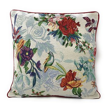 "DaDa Bedding Elegant Tropical Paradise Birds Floral Tapestry Throw Pillow Covers 16"" (18116)"