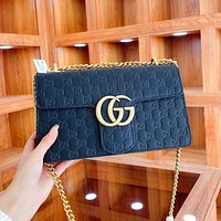 Gucci Double G Chain Bag Fashion Classic Embossed Shoulder Messenger Bag