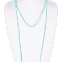 NECKLACE / FAUX SUEDE CORD / PEARL / WRAPAROUND / MULTI PURPOSE / OPEN END / TIE CLOSURE / 54 INCH LONG / 0 INCH DROP / NICKEL AND LEAD COMPLIANT