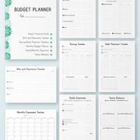 FINANCIAL PLANNER Letter Size Filofax Inserts Monthly Financial Binder Bills Savings and Expenses tracker printable 9 docs Instant Download