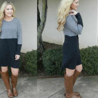 Grey Gradient Sweater Dress