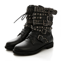 Winter Womens Round Toe Lace Up Rivet Studded Low Heels Buckle Military Combat Motocycle Riding Ankle Boots Shoes Plus Size