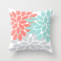 Flower Throw PILLOW Floral Burst Custom Pillow with Insert or Pillow SHAM Pillow Case Choose Colors Home Decor Nursery Bedding Baby Gift
