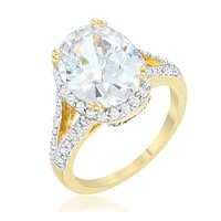 Jasmine Two-Tone Oval Solitaire Engagement Ring | 6ct  | Cubic Zirconia | 18k Gold