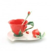 Cup/Saucer/Spoon Set - Red Rose Design - The Tea Centre
