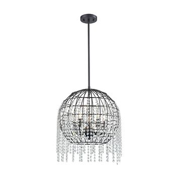 Yardley 5-Light Chandelier in Oil Rubbed Bronze with Wire Cage and Clear Crystal