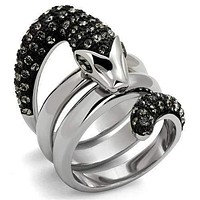 Engagement Rings For Women TK2511 Two-Tone - Stainless Steel Ring with Crystal