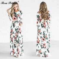 Boho Maxi Long Sleeve Floral Maxi Dress