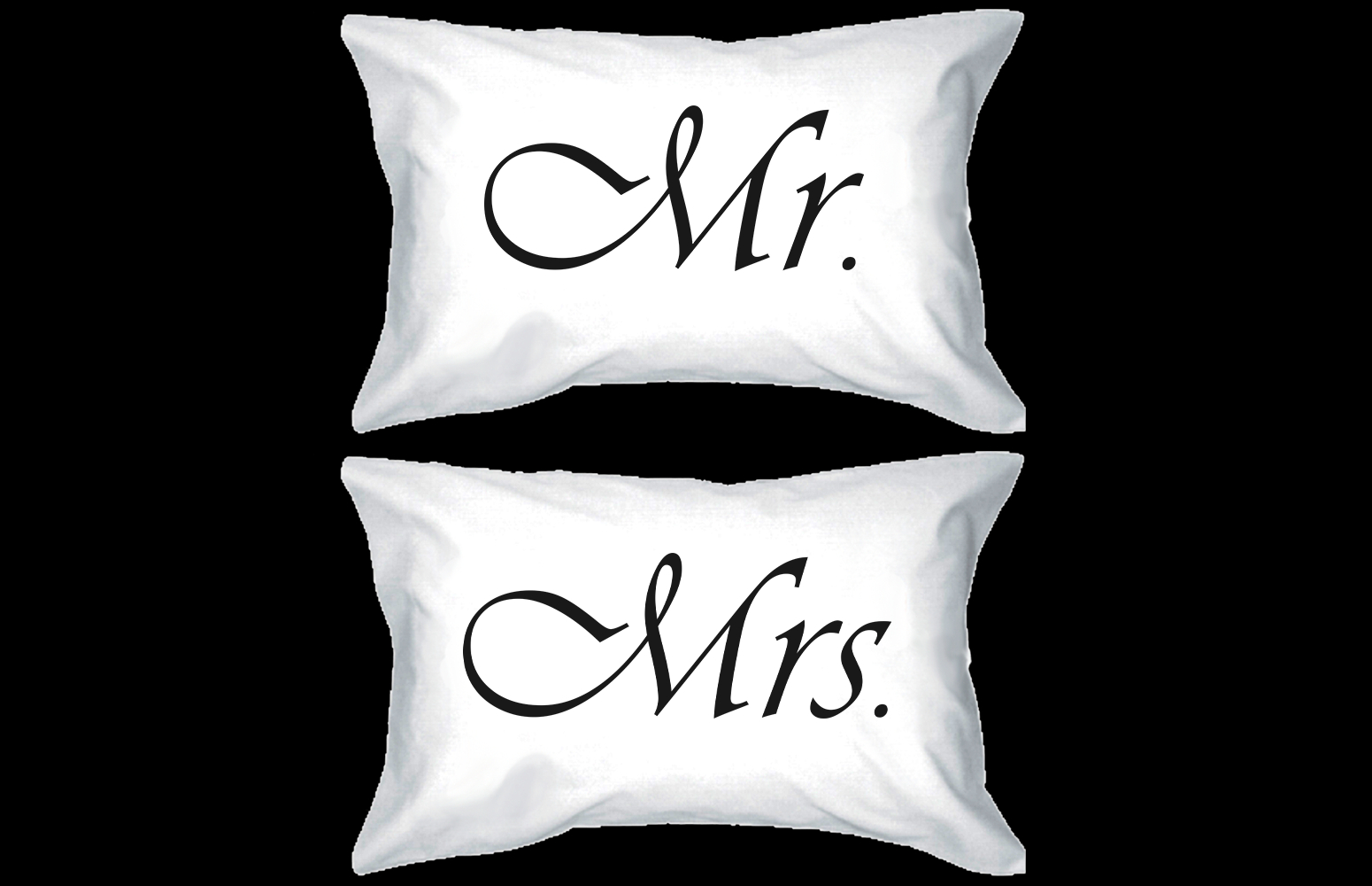 Image of Mr and Mrs Couple Pillowcases Classy Matching Pillow Covers for Newlyweds