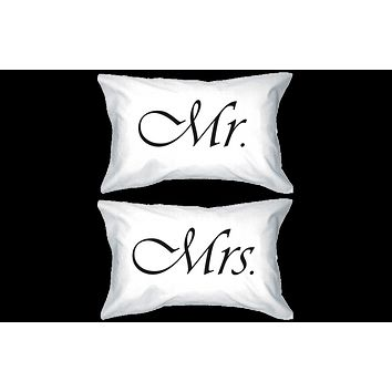 Mr and Mrs Couple Pillowcases Classy Matching Pillow Covers for Newlyweds