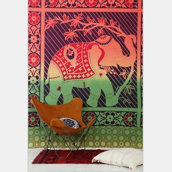 New Red Elephant Tapestry Indian Mandala Tapestry Map Moon Wall Hanging Sandy Beach Picnic Throw Rug Tent Travel Mattress M/L