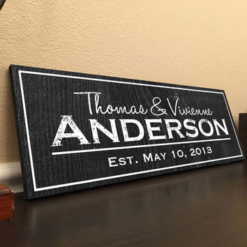 Printed Personalized Family Established Sign on Wood