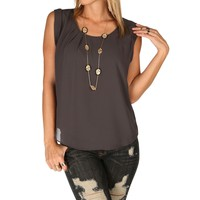 Charcoal Chiffon Cuff Top