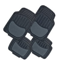 Premium Heavy Duty Black Rubber & Semi Carpeted Universal Car Van Truck Floor Mats Set MT-9008BK