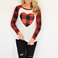 *  Cupid Buffalo Print Heart Top : Ivory