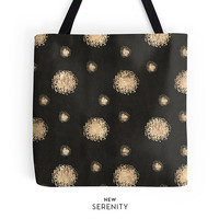 Tote Bag, Faux Rose Gold Dots, Black Tote, Chic Tote, Printed Tote, Custom Tote, Work Tote, Womens Tote Bag, Gift for Her, NewSerenityStudio