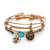 Alex and Ani Ovarian Cancer Strength in Full Bloom Set of 3 Expandable Wire Bangle Rafaelian Gold