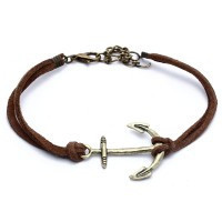 Bracelet Chain Alloy Anchor Coffee Leather Cord - Default
