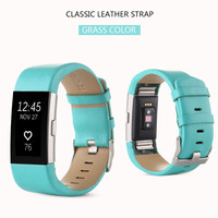 TOP QUALITY - Fashionable Genuine Leather Watch Band Strap For Fitbit Charge 2