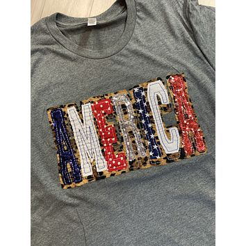 AMERICA Shirt - Double Stacked with Leopard and Red, White and Blue Fabrics - Gray
