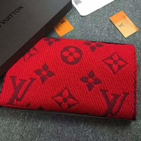 LV Louis vuitton gold silk women trend exquisite knitting wool scarf shawl special cabinet F-XLL-WJ red