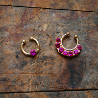 Tribal Pink Faux Septum Piercing , Gold Clip On Septum Ring